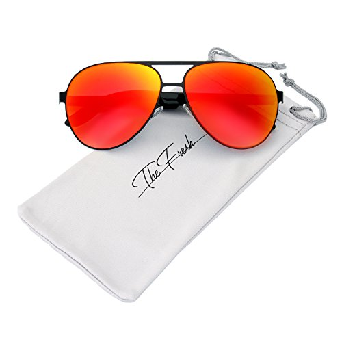 The Fresh Metal Frame Plastic Temple Mirror Lens Active Lifestyle Aviator Sunglasses with Gift Box (10-Black-Red, Red Gradient - Aviator Sunglasses Red