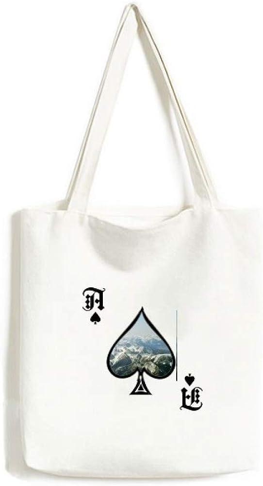 Snow Winter Mountains Forest Outdoor Sky Handbag Craft Poker Spade Canvas Bag Shopping Tote