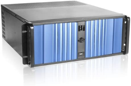 iStarUSA 4U Compact Stylish Rackmount Chassis with SEA Blue Bezel Power Supply Not Included