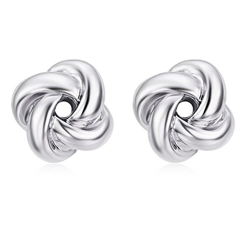 Women's 18K White Gold Plated Sterling Silver Love Knot Stud Earrings Hypoallergenic Two Tone Jewelry for Sensitive Ears (White gold)