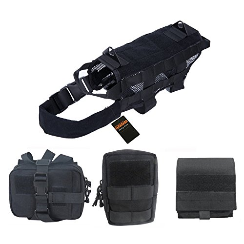 Pettom Tactical Dog Training Molle Vest Suits Harness with Detachable Pouches Black Medium