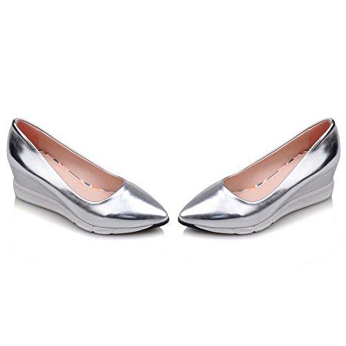 Leder AllhqFashion Damen Ziehen Absatz Rein Schuhe Silber Mittler auf Pumps Spitz Zehe PU rTtTnA