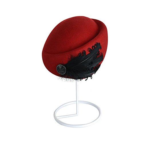 FuzzyGreen Luxury Vintage Style Feather Wool Fleece Lady Beret Hat Airline Stewardess Hat (Red)