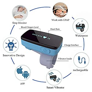 Sleep Oxygen Monitor w Vibration Alert for Sleep Apnea – Tracking Overnight Oxygen Saturation Level/Heart Rate w Finger Ring Sensor, Bluetooth Pulse Oximeter w App Report