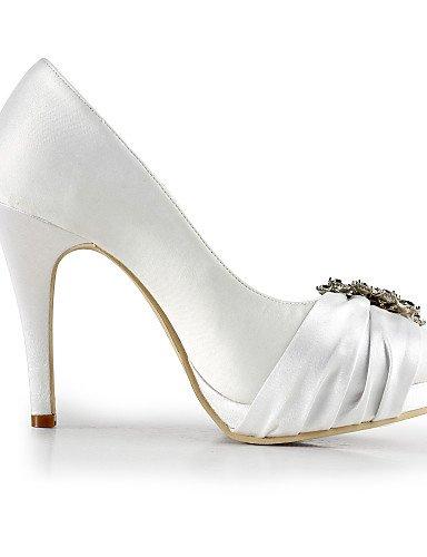 GGX/ Damenschuhe Seide Stilettferse Fersen / runde Zehe Fersen Hochzeit / Party&Abend / Kleid weiß 4in-4 3/4in-white