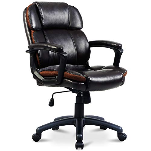 Giantex Executive Office Chair W/Swivel Wheels, Padded Armrest and Mid Back PU Leather Computer Desk...
