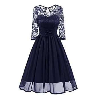 vestidos mujer, Sannysis vestidos de fiesta, vestidos navidad mujer fadals casual de encaje vintage de manga tres cuartos O-cuello Ajuste y Flare para fiesta de bodas (XL, Azul)