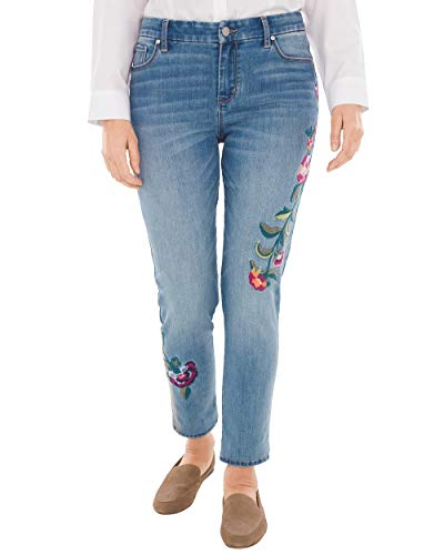 Chico's Women's So Slimming Floral-Embroidered Girlfriend Ankle Jeans Size 4 S (0 REG) Denim