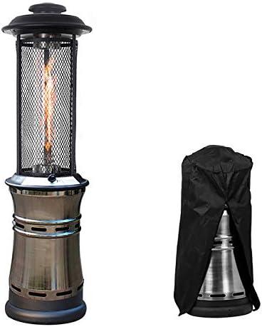 プロパンパティオヒーター、石英ガラス管格納式商業屋外ヒーターレインカバー付き360°熱放散屋外ヒーター,Cyan