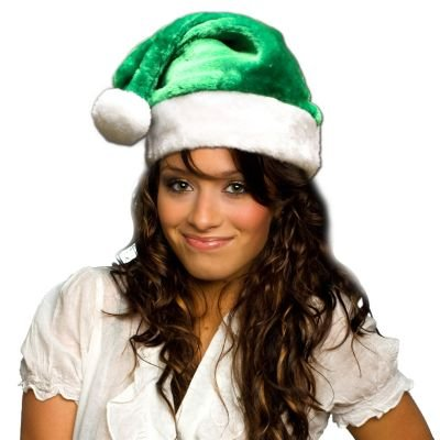 Green Plush Santa hat -