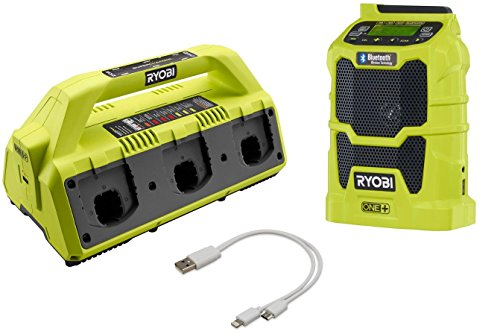 Ryobi P135 6-port Supercharger with Ryobi P742 Wireless Bluetooth Compact Radio and Dual Lightning/Micro USB Cable (Bundle) by Ryobi