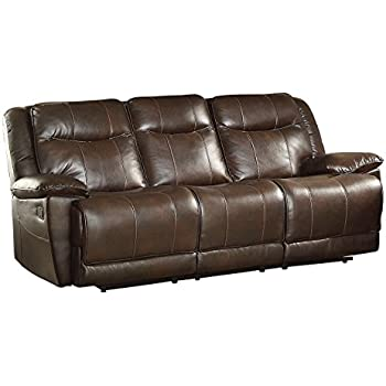 Homelegance Triple Reclining Sofa In Dark Brown Leather Gel Match