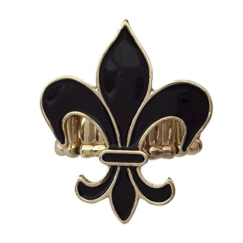 Black Enamel Fleur De Lis Gold Tone Cocktail Stretch Ring