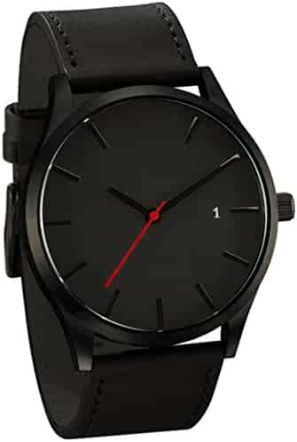 SMTSMT Popular Low-key Men's Quartz Wristwatch Minimalist Connotation Leather Watch (Black)