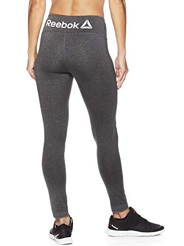 Reebok Women's Leggings Full Length Performance Compression Pants - Athletic Workout Leggings for Women for Gym & Sports - Charcoal Heather Grey, Large