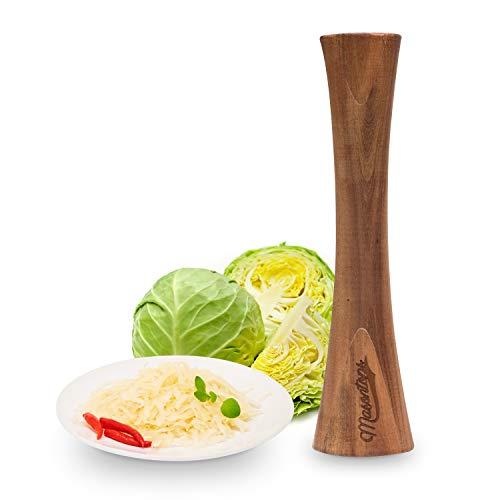 Masontops Pickle Packer - Acacia Wood Vegetable Fermentation Tamper - Cabbage Sauerkraut Pounder - Fermenting Food Tool