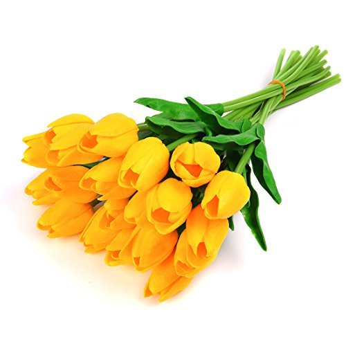 DealMux Single Stem 20 Heads Artificial Real Touch PU Tulips Flowers Arrangement Bouquet Home Room Office Centerpiece Party Wedding Decor (Yellow)
