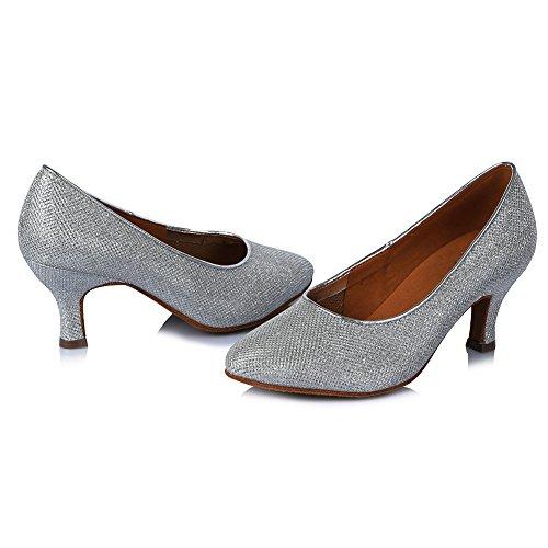 Satin Tanzschuhe Damen Silber SWDZM Modell DE Schuhe Standard Ballsaal Dance 308 Latin qB1YxC