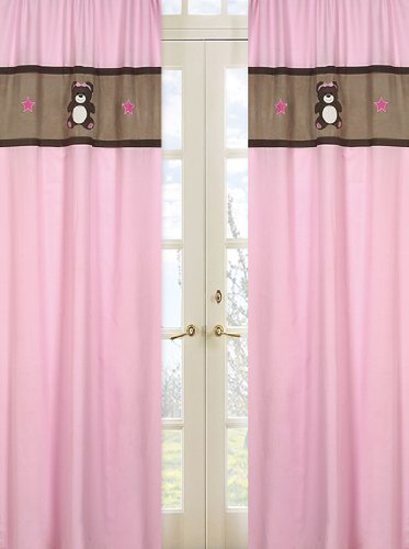 Teddy Bear Pink Set of 2 Window Panels (Embroidery Teddy Design)