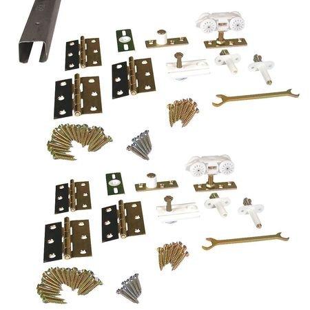 Pemko Folding 100 Series Aluminum Sliding and Folding Door Hardware Kit, Four Panel, 96'' Track length
