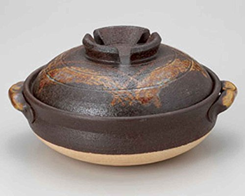 Tetsu-Red Koshi for 5-6 persons 13.4inch Donabe Japanese Hot pot Brown Ceramic Made in Japan by Watou.asia