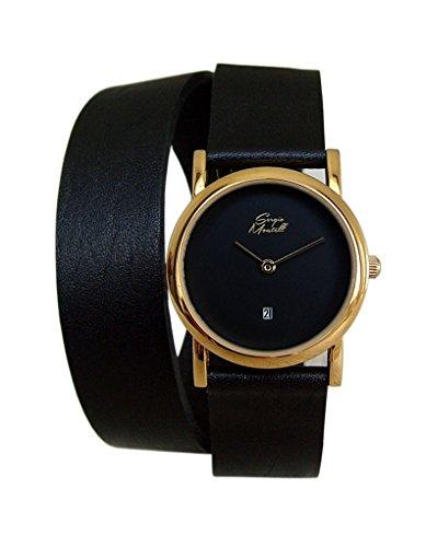 Sergio Montell Women's Black Leather Wrap Strap Watch - Gold-Tone/Black Face, Women Quartz Fashion Wrap Around Leather Bracelet Wrist Watch