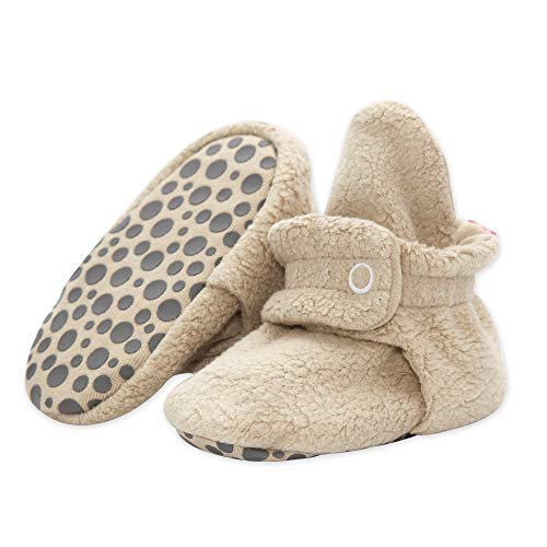Zutano Cozie Fleece Baby Booties with Grippers 12M (6-12 Months), Khaki