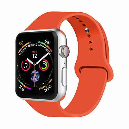 VATI Sport Watch Band Compatible with Watch 38mm 42mm 40mm 44mm, Soft Silicone Strap Replacement Bands Compatible with Watch Series 4/3/2/1 S/M M/L(Orange,42mm S/M)