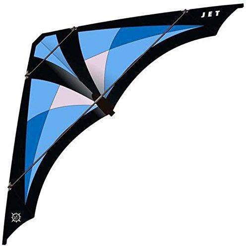 elliot 1010539 Elliot Jet, Zweileiner-Lenkdrachen, rtf, 200 x 79 cm, schwarz/blau/hellblau/grau, Kohlefaser/Cfk-Rohr 6/8 mm