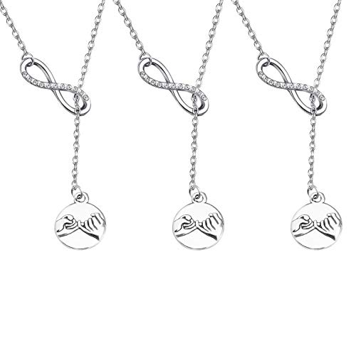 BAUNA Best Friends Necklace Pinky Promise Pinky Swear Infinity Y Necklace Hand Gestures Pendant Necklace for Best Friend Sisters BFF Jewelry (Necklace for 3)