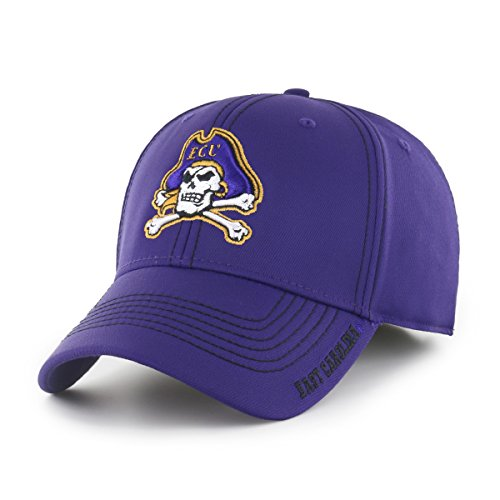 NCAA East Carolina Pirates Adult Start Line Ots Center Stretch Fit Hat, Medium/Large, Purple