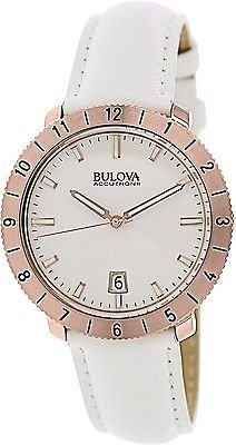 Bulova Accutron II Moonview White Leather and Dial Watch Accutron White Wrist Watch