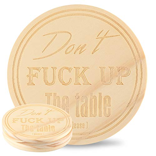 Kevancho Funny Wood Coasters for Drinks Absorbent Set of 4 PCS, Personalized Laser Pattern, Cute Round Table Mug Cup Mats for Car Home Office Bar, Housewarming Gifts (Text Style) ()