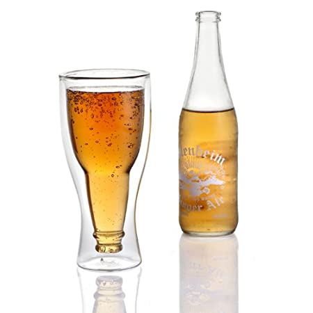 Lily's Home Upside Down Double Wall Beer Glass, Insulated and Ideal for Beer or Other Cold Beverages (12 oz. Each, Single) Lily' s Home SW749