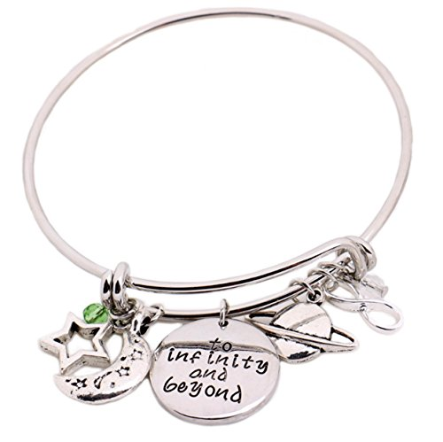 Toy Story Silver DIY Adjustable Message Expandable Silver Bangle to Infinity and Beyond Pendant with Saturn UFO,Buzz Lightyear Charms Bracelet for Women