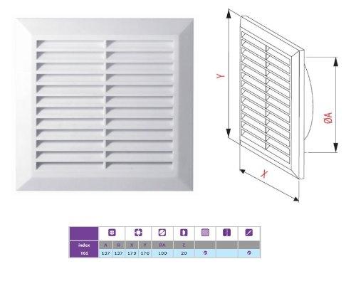 color blanco Awenta T61 Rejilla de ventilaci/ón anti-insectos 100 mm de di/ámetro