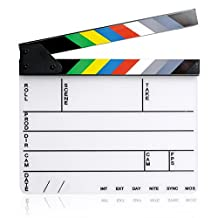 Elisona-11.7 x 9.8 inch Acrylic Whiteboard Director Film Movie Cut Clapboard Clapper Board Slate with Magnetic Colorful Strip