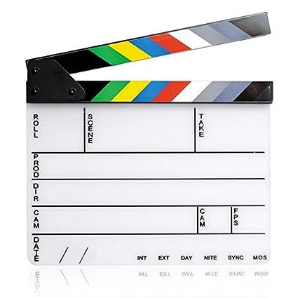 Gosear 11.7 x 9.8 Pulgadas Pizarra Acrílica Director Película Corte Tablilla Claqueta Board Pizarra con Banda Magnética Colores