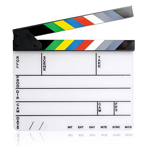 Elisona-11.7 x 9.8 inch Acrylic Director Film Movie Cut Clapboard Clapper Board Slate with Black White Magnetic Strip White Board