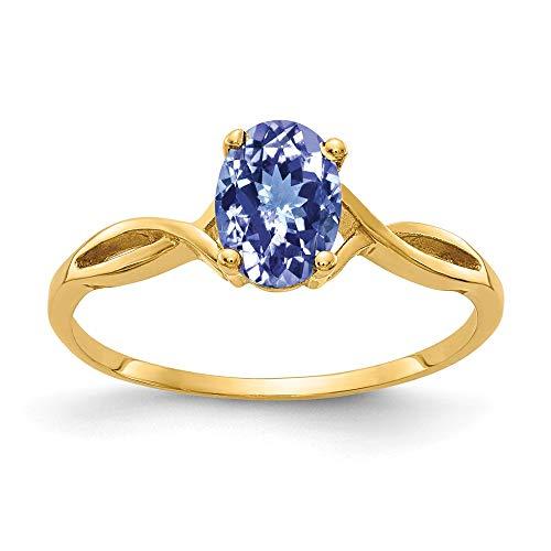 14K Yellow Gold 7X5mm Oval Tanzanite Ring ()