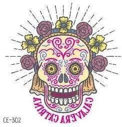 HXMAN 12pcs Cráneo Tatuaje Pegatinas Katrina Estilo Temporal ...