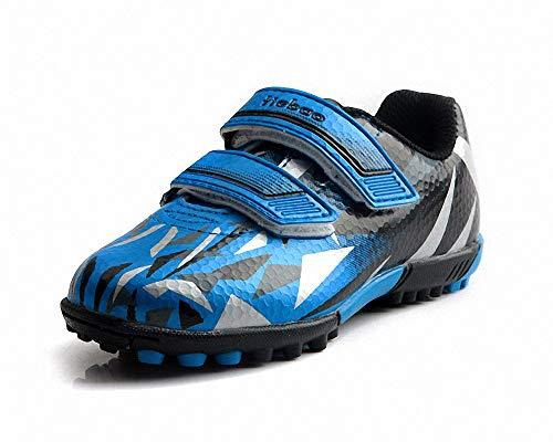 T&B Kids Futsal Shoes Indoor Soccer Football Boots Adjustable Strap Hook Loop Black/Blue C76516-Lan-27-10US