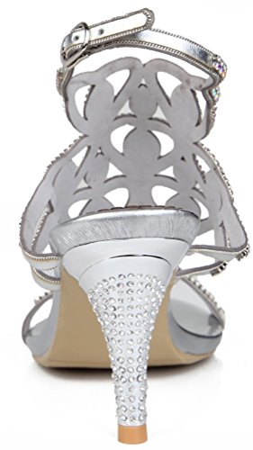 Abby L019 Womens Unique Wedding Bride Bridesmaid Party Show Dress Cone Heel Micro-Fiber Sandals Silverd 2014 newest cheap price YQFM3qm