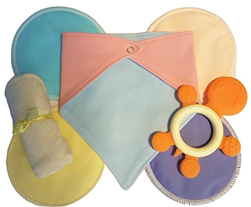 Unisex Baby Gift Set For Girls or Boys by SuperMom Co. Includes Pink Blue Reversible Drool Bib or Bandana, Washable Nursing Pads, Organic Washcloth and Turtle Teether