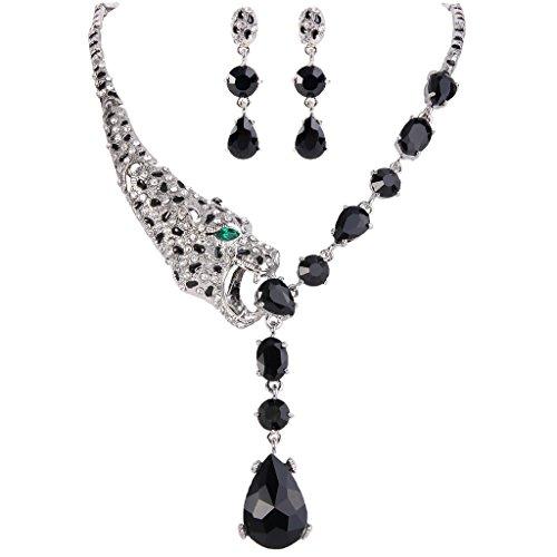EVER FAITH Silver-Tone Leopard Teardrop Necklace Earrings Set Black Zircon Austrian Crystal