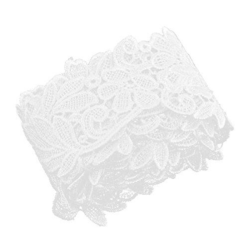eDealMax poliestere casa Fower del merletto di Disegno cucito Trim Bianco ricamato 2 pollici Larghezza