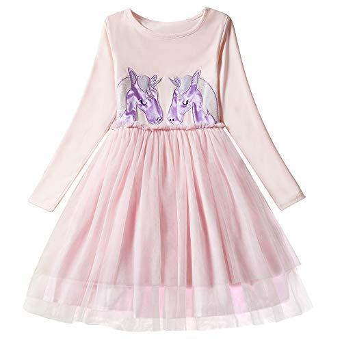 Little Girl Unicorn Long Sleeve Cotton Birthday Party Dress Costume Winter Warm Shirt Purple ()