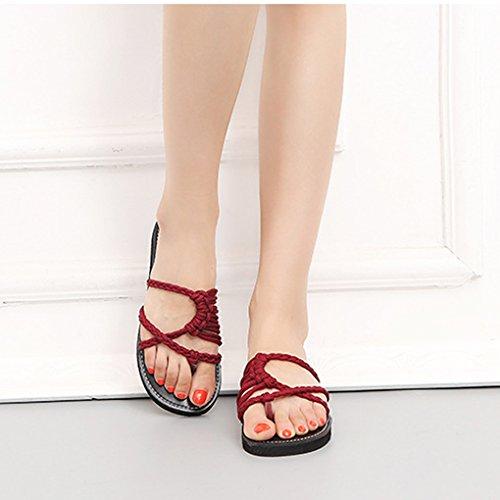 Romani Minetom Scarpe Peep Nylon Eleganti Rosso Toe Flip Piatte Spiaggia Boemia Moda Casual Sandali Donna Flop Intrecciati Estiva Shoes AHWrxATIq