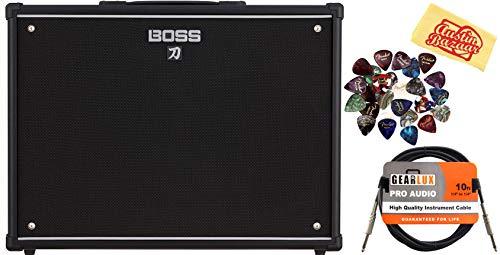 Custom Head Cabinet Amp (Boss Katana 2x12 Guitar Amplifier Cabinet Bundle with Instrument Cable, 24 Picks, and Austin Bazaar Polishing Cloth)