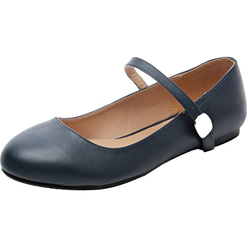 Luoika Women's Wide Width Flat Shoes - Comfortable Ankle Strap Mary Jane Ballet Flats.(180901,Blue PU,13) ()